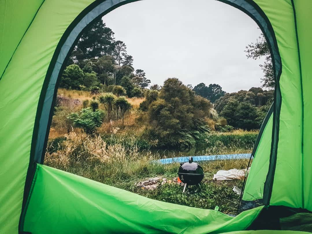 A view of a green tent