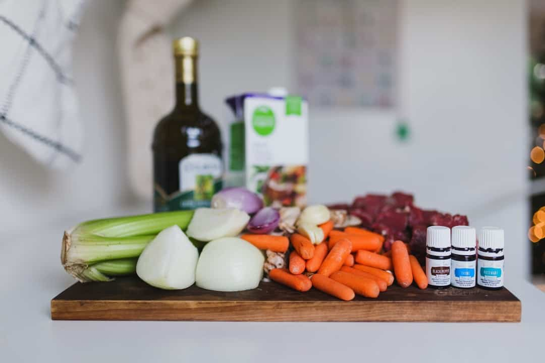 A bunch of items that are on a cutting board